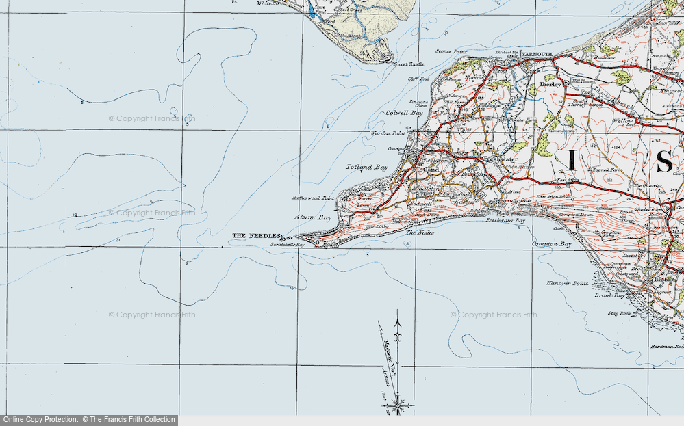 Old Map of Historic Map covering The Needles in 1919