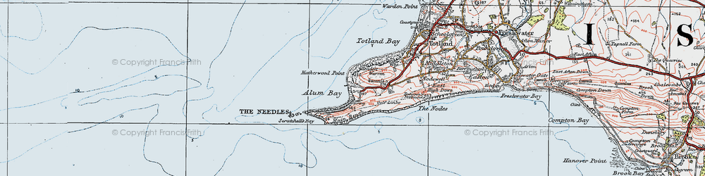 Old map of Alum Bay in 1919