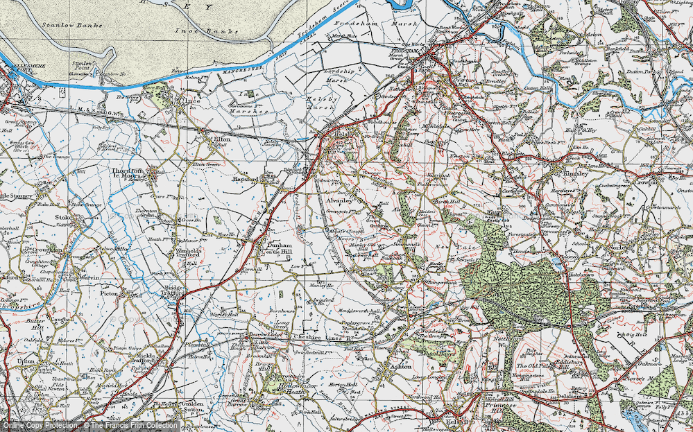 Old Map of Historic Map covering Alvanley Cliff in 1923