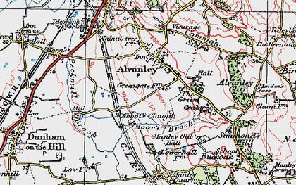Old map of Alvanley Cliff in 1923