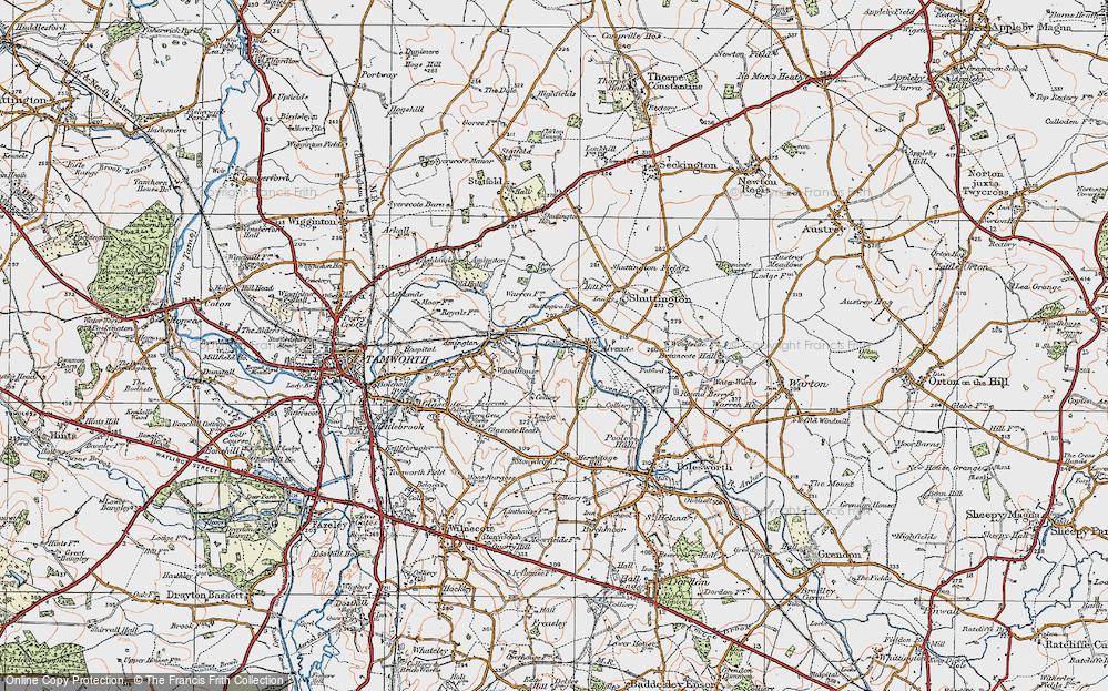 Old Map of Alvecote, 1921 in 1921