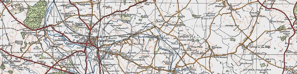 Old map of Alvecote in 1921