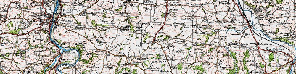 Old map of Lashingcott Moor in 1919