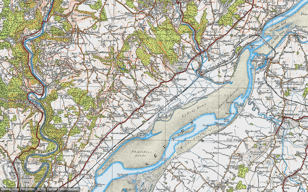 Old Map of Historic Map covering Aylburton Warth in 1919