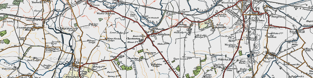 Old map of Alwalton in 1922