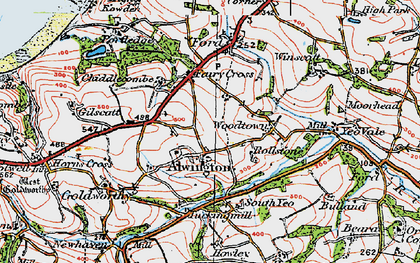 Old map of Alwington in 1919