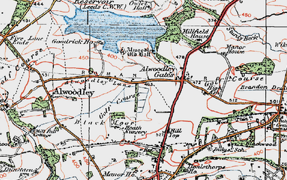 Old map of Alwoodley Old Hall in 1925