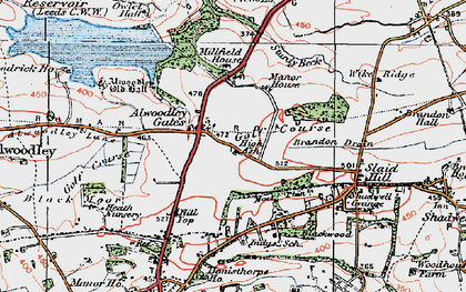 Old map of Alwoodley Gates in 1925