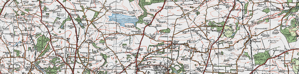 Old map of Wigton Moor in 1925
