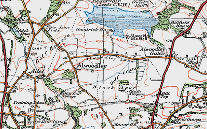Old map of Alwoodley Park in 1925