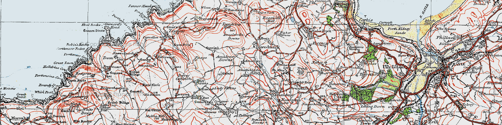 Old map of Amalveor Downs in 1919