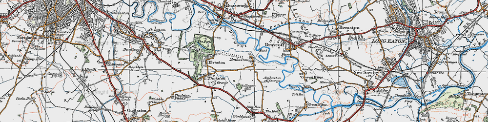 Old map of Ambaston in 1921