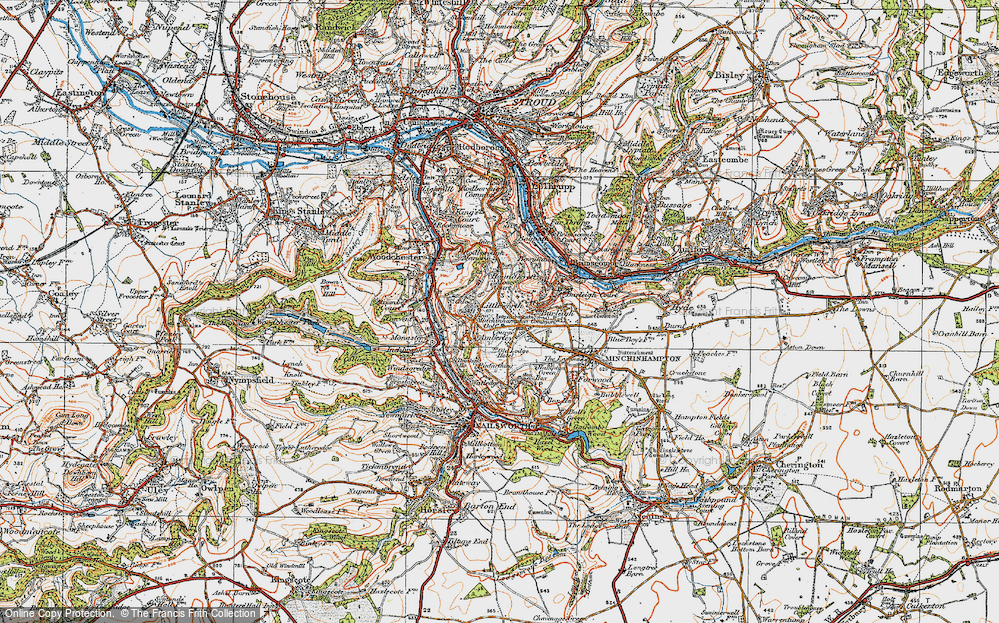 Old Map of Historic Map covering Whitfield's Tump (Long Barrow) in 1919
