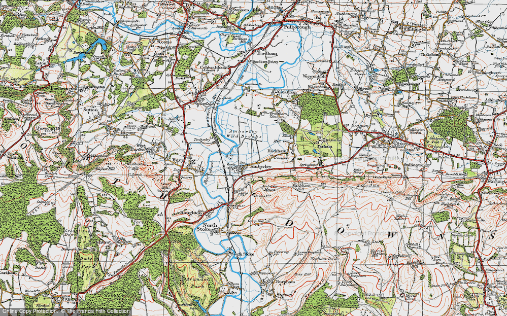 Old Map of Historic Map covering Amberley Wild Brooks in 1920