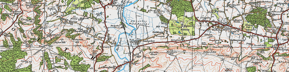 Old map of Amberley Wild Brooks in 1920