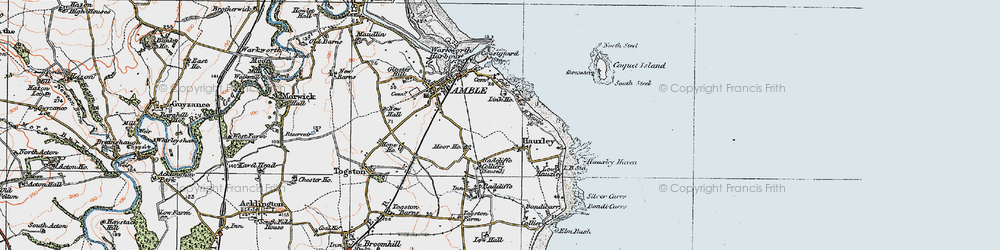Old map of Amble in 1925