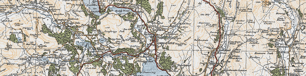 Old map of Ambleside in 1925