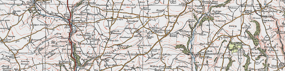 Old map of Ambleston in 1922