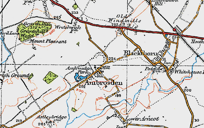 Old map of Ambrosden in 1919