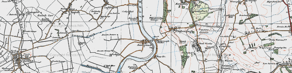 Old map of Amcotts in 1924