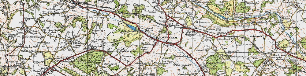 Old map of Amersham Old Town in 1920