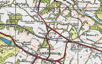 Old map of Amersham on the Hill in 1920