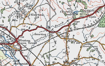 Old map of Amerton in 1921