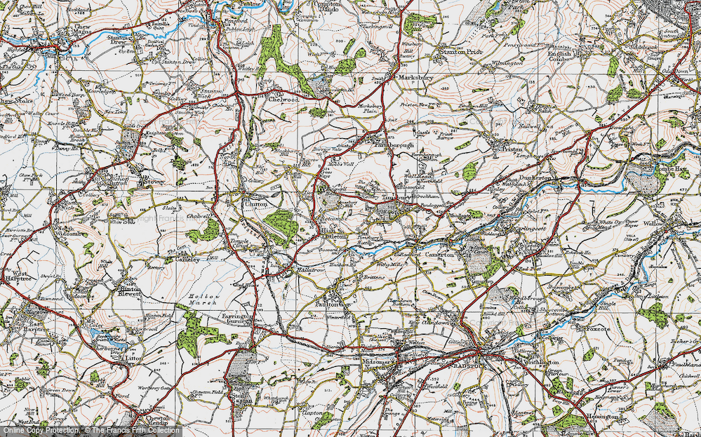 Old Map of Historic Map covering Timsbury Bottom in 1919
