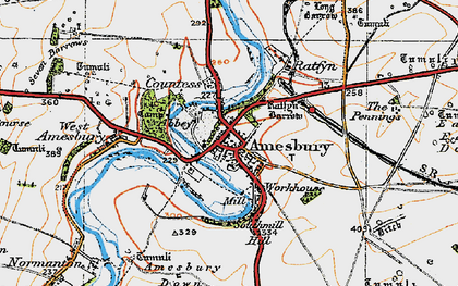 Old map of Amesbury in 1919