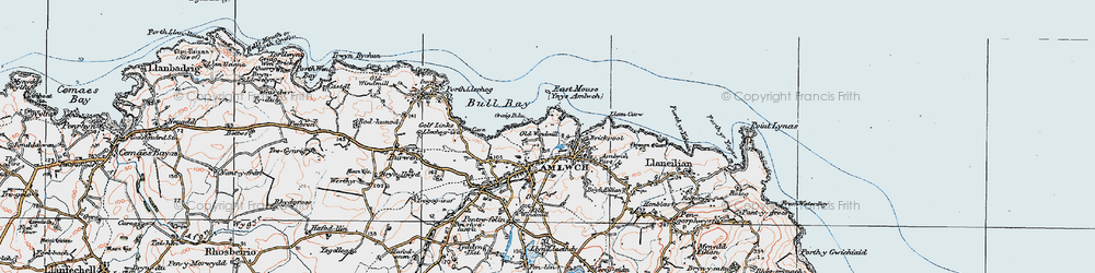 Old map of Amlwch in 1922