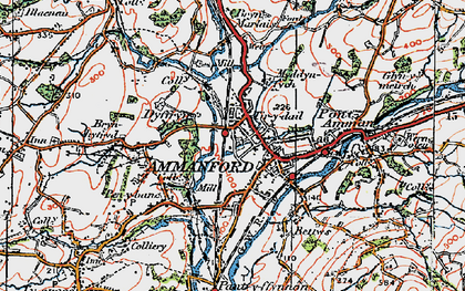Old map of Ammanford in 1923