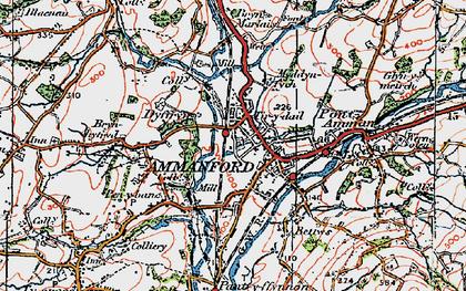 Old map of Ammanford/Rhydaman in 1923