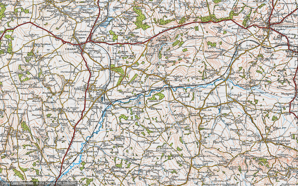 Old Map of Historic Map covering Forde Abbey in 1919
