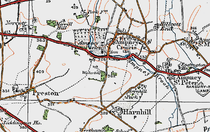 Old map of Ampney Crucis in 1919