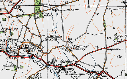 Old map of Ampney St Mary in 1919