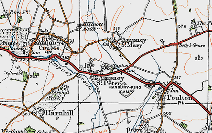 Old map of Ampney St Peter in 1919