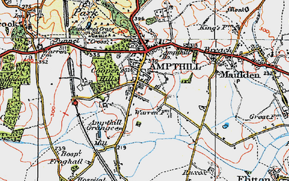 Old map of Ampthill in 1919