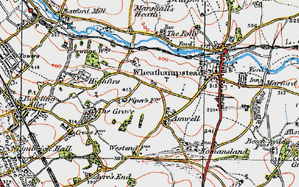 Old map of Amwell in 1920