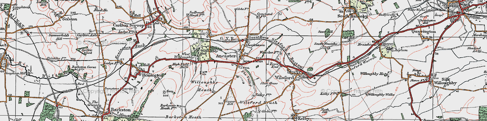Old map of Ancaster in 1922