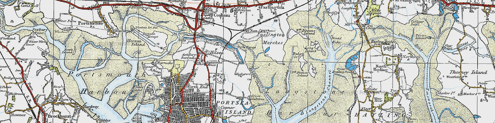 Old map of Langstone Harbour in 1919