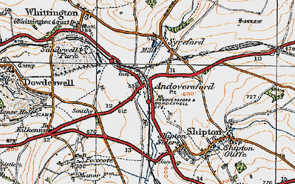 Old map of Andoversford in 1919