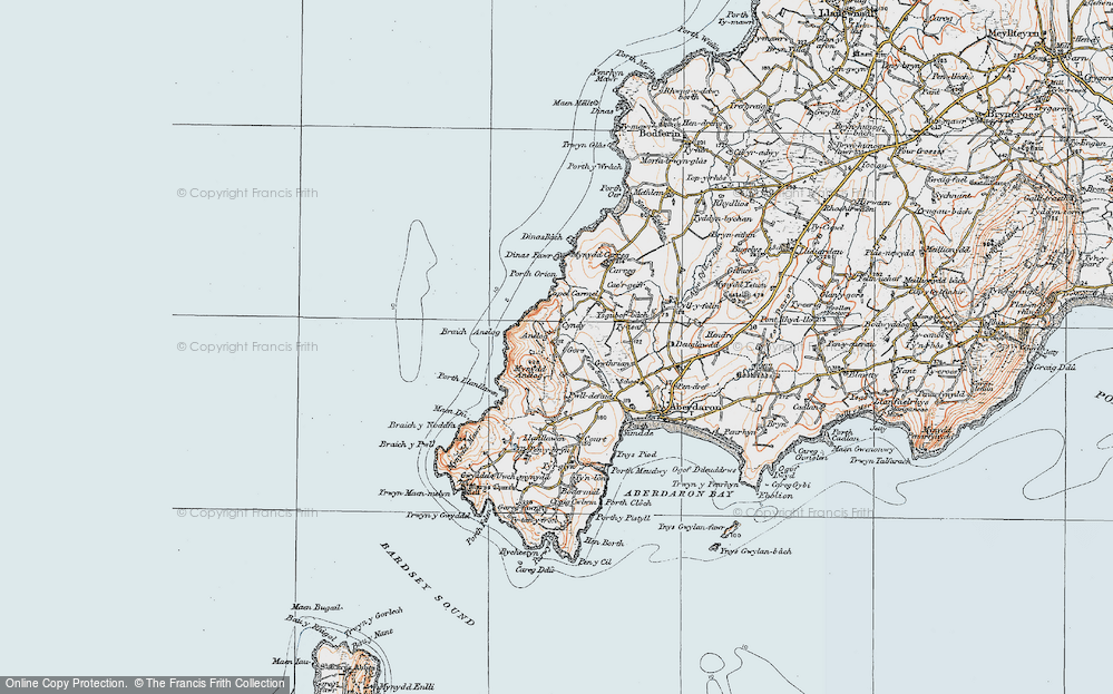 Old Map of Historic Map covering Afon Saint in 1922