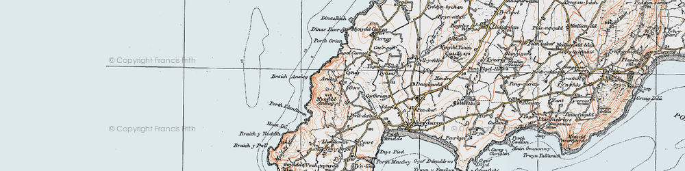 Old map of Afon Saint in 1922