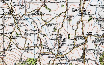 Old map of Angersleigh in 1919