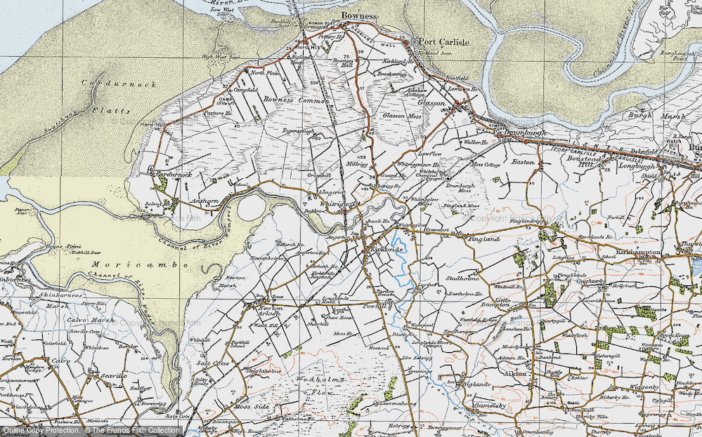 Old Map of Historic Map covering Whitrigg Ho in 1925