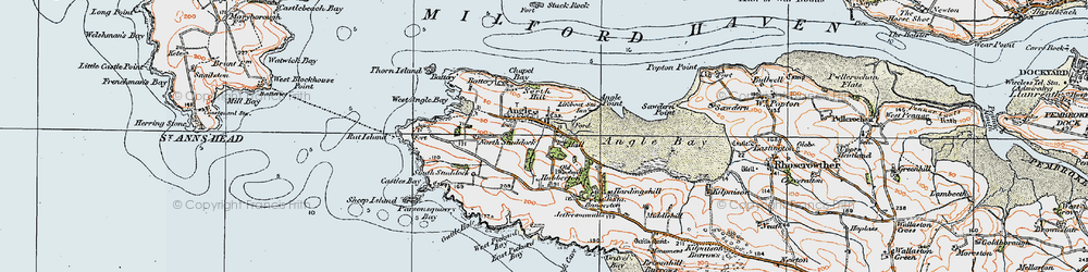 Old map of Angle in 1922