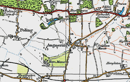Old map of Angmering in 1920