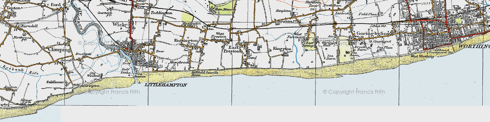 Old map of Angmering-on-Sea in 1920