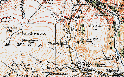 Old map of Thwaite Common in 1925