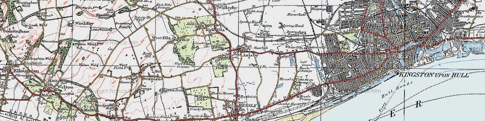 Old map of Anlaby in 1924